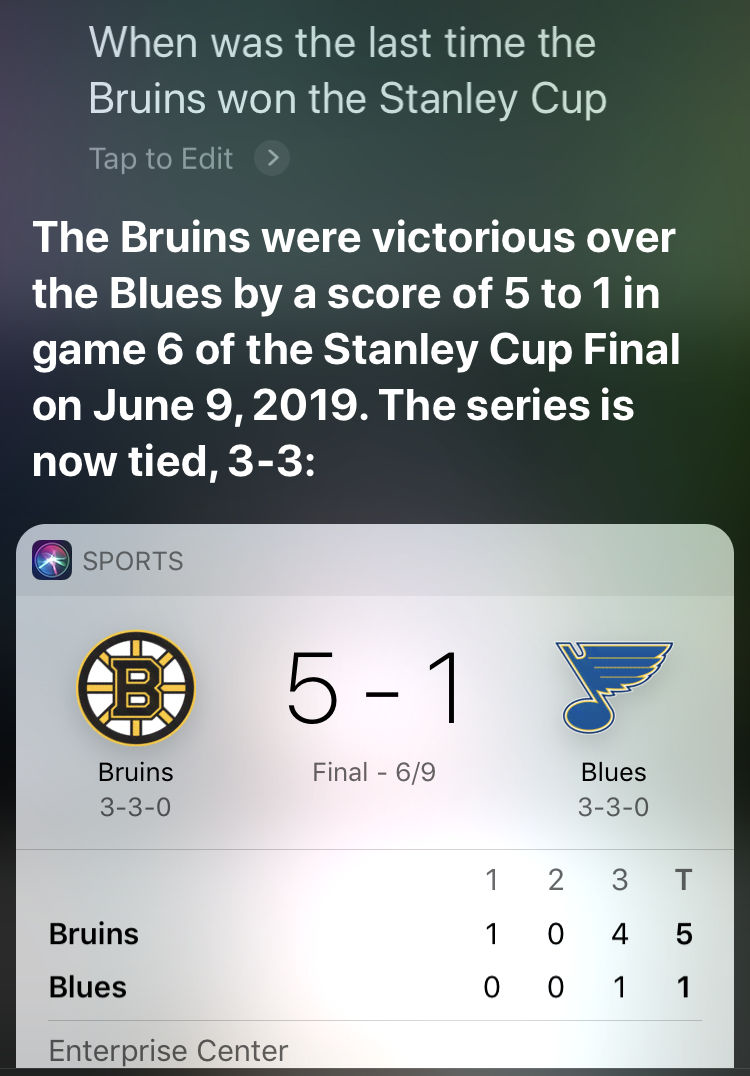 Siri gave an incorrect answer for When was the last time the Bruins won the Stanley Cup