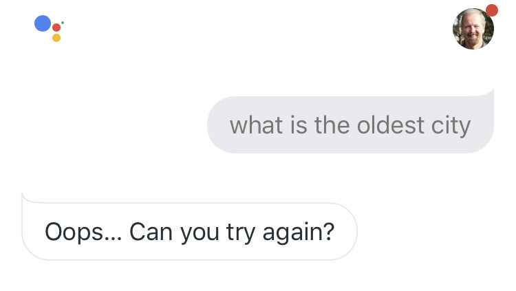 Google Assistant returns incorrect answer for what is the oldest city?