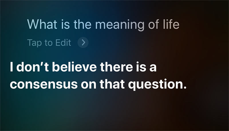 "Siri answered voice search ""What is the meaning of life""?e search ""What is the meaning of life""?"