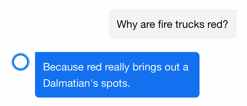 "Cortana answered voice search ""Why are fire trucks red""?"